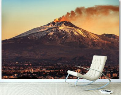 Catania and Mount Etna Volcano in Sicily Italy