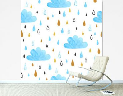 Seamless vector pattern with watercolor clouds and rain drops.