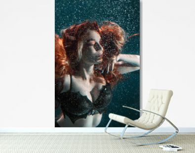 Portrait of red haired freediver girl