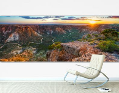 panorama view of sunrise over charles knife canyon, western australia 3