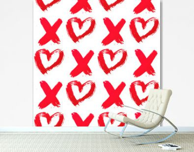 XO with heart drawn with red lipstick. Seamless pattern XOXO on white background. Hugs and kisses abbreviation symbol. Easy to edit template for Valentine's day. Vector illustration.