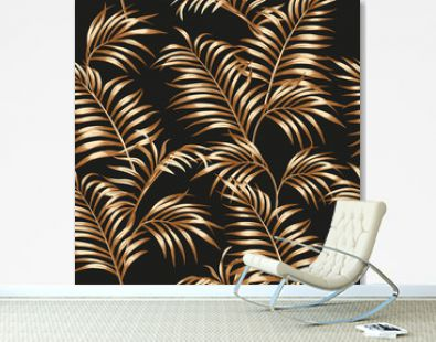 Gold palm leaves seamless black background