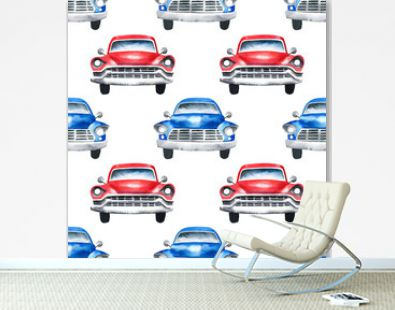 Hand painted watercolor oldtimer cars seamless pattern on white background.