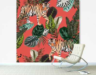 Tiger in the jungle living coral background