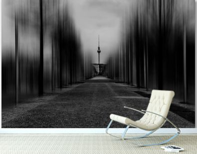 Pedestrian walkway in Berlin with a view to the television tower and close to Surreal edited of trees
