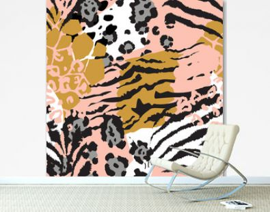 Vector abstract seamless pattern with animal skin motifs.