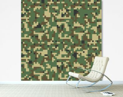 Pixel camo. Camouflage seamless pattern Vector illustration for printing on cloth, textile. Different shades of green color Abstract background in military style.
