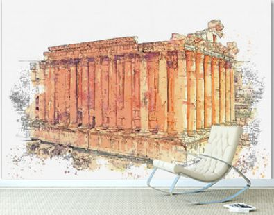 Watercolor sketch or illustration of the beautiful view of the Temple of Bacchus - ancient temple, Baalbek, Lebanon