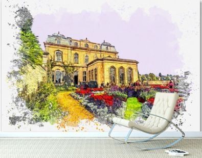 Watercolor sketch or illustration of a beautiful view of the Wrest Park Building, near Silsoe, Bedfordshire, England