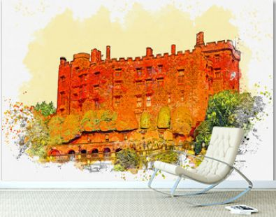 Watercolor sketch or illustration of the beautiful view of the Powis Castle in England