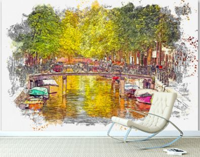 Watercolor sketch or illustration of a beautiful view of the urban architecture with a bridge and bicycles on it and boats on the water in Amsterdam in the Netherlands