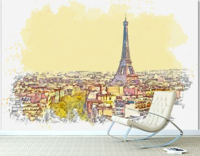 Watercolor sketch or illustration of a beautiful view of Paris in France. Cityscape or urban skyline