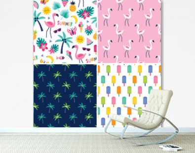 Set of cute seamless vector patterns with flamingos, tropical leaves, pineapples, flowers and palm trees in pink, yellow and blue. For greeting cards, gift wrapping paper, textiles and wallpapers.