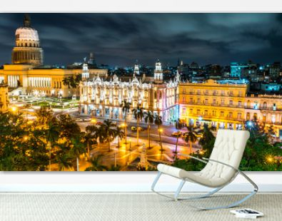 Havana, Cuba. Long Exposure Night. Downtown skyline and Capitol.