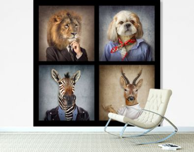 Animals in clothes on vintage style. People with heads of animals. Concept graphic, photo manipulation for cover, advertising, prints on clothing and other.