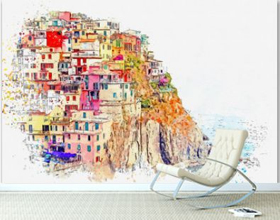Watercolor sketch or illustration of a beautiful view of Manarola - a small city in Italy, which is located near the sea on a hill