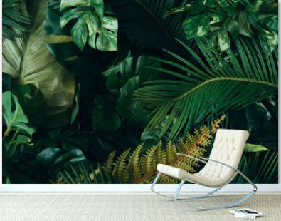 Creative layout made of tropical leaves. Flat lay. Nature concept.