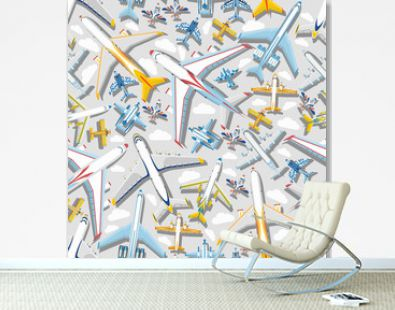 Plane seamless pattern vector aircraft airplane jet flight transportation flying to airport illustration aviation backdrop of aeroplane airliner and airfreighter cargo background