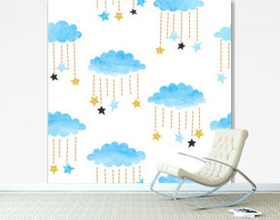 Seamless vector blue watercolor clouds and stars pattern.