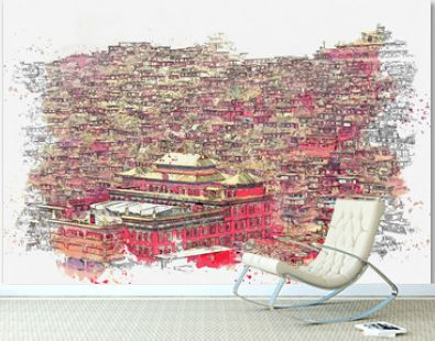 Watercolor sketch or illustration of a beautiful view of Larung Gar Sertar, Sichuan, China