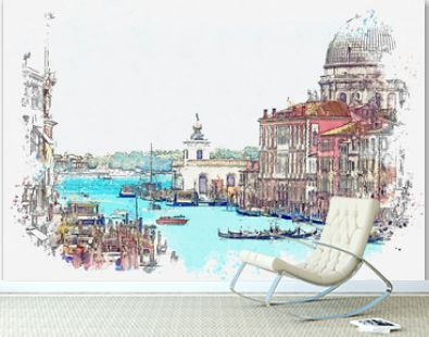 Watercolor sketch or illustration of a beautiful view of the Grand Canal with Basilica di Santa Maria della Salute in Venice, Italy