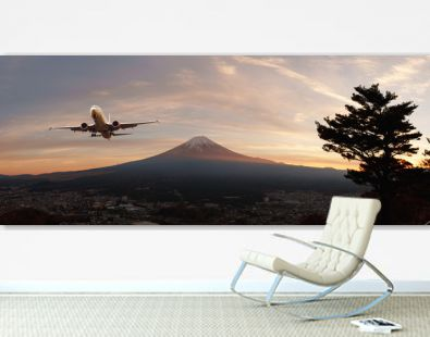 Panaroma view of Fuji-san, the highest mountain in Japan, from rope way at Lake Kawaguchiko with airplane on the sky