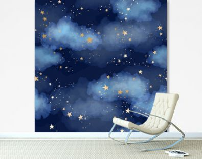 Seamless dark blue night sky pattern with gold foil constellations, stars and watercolor clouds