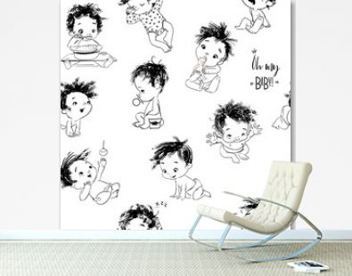 lovely seamless pattern with cartoon little baby