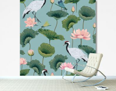 seamless pattern with lotuses and Japanese cranes