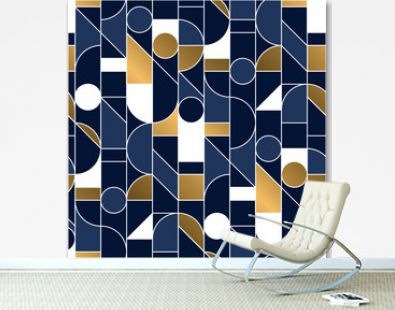 Luxury masculine blue and gold seamless pattern