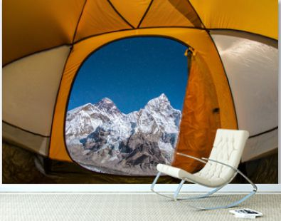 View from inside the tent of the Himalayan landscape. Mountains Everest, Lhotse and Nuptse.