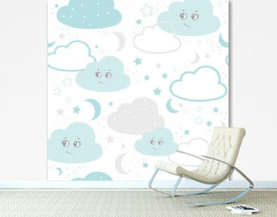 Children seamless pattern with cute clouds, stars on a white background. vector illustration baby seamless pattern