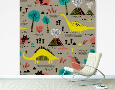 Seamless pattern with cartoon dinosaurs. Creative nursery background. Perfect for kids design, fabric, wrapping, wallpaper, textile, apparel. Scandinavian style.