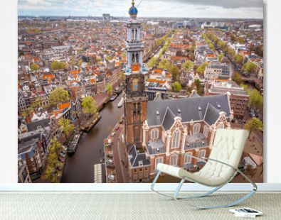 Aerial view of Amsterdam canals, Netherlands