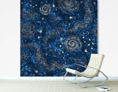 Galaxy seamless dark blue textured pattern with gold nebula, constellations and stars
