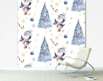 Watercolor seamless Christmas pattern with birds ,penguins, tree, snowflakes, branches. Penguin winter snow hand drawn
