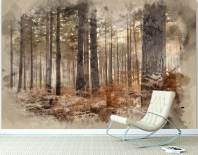 Digital watercolor painting of Pine forest Autumn Fall landscape foggy morning