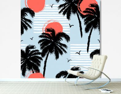 Seamless pattern with palm trees, sun. Vector illustration.