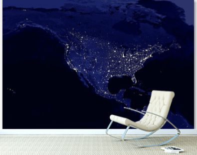American continent electric lights map at night. City lights. Map of North and Central America. View from outer space. Mixed media