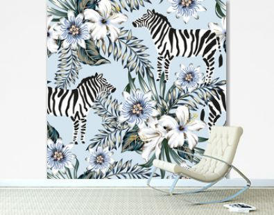 Tropical zebra, palm leaves, hibiscus, passion flowers bouquets, light blue background. Vector seamless pattern. Graphic illustration. Exotic jungle. Summer beach floral design. Paradise nature