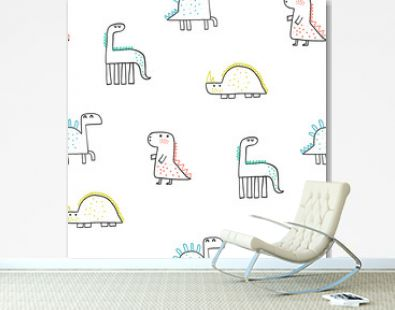 Baby seamless pattern with hand drawn dino in scandinavian style. Creative vector childish background for fabric, textile, wallpaper.