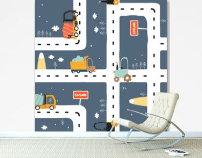 Seamless pattern with road? truck and tractor. Cool kids print for carpet or nursery textile. Vector hand drawn illustration.