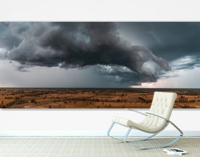 Panorama of dramatic clouds.Horizontal cloudscape photography.