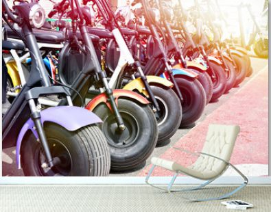 Electric scooters for rent in parking