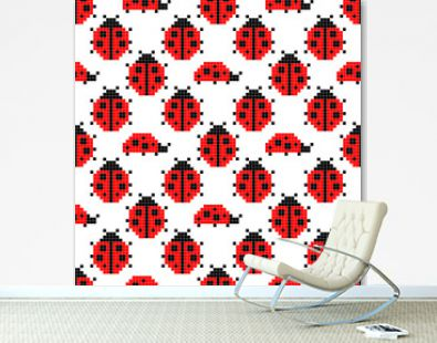 Pixel seamless pattern with ladybugs. Vector illustration for card,website, poster, textile print etc.