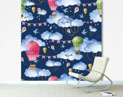 Watercolor pattern with balloons and clouds