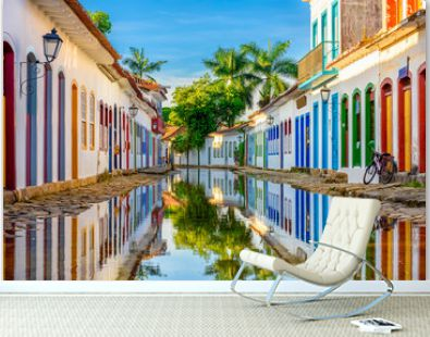 Street of historical center in Paraty, Rio de Janeiro, Brazil. Paraty is a preserved Portuguese colonial and Brazilian Imperial municipality