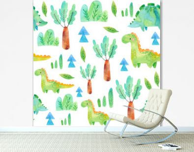 Hand drawn seamless pattern with dinosaurs and floral elements. Perfect for kids fabric, textile, nursery wallpaper. Cute watercolor illustration