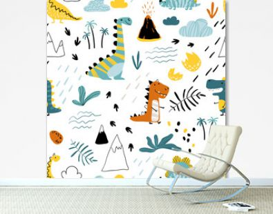 Cute seamless pattern with varied dinosaurs, mountains, volcanoes, palm trees, clouds, eggs, footprints. Baby Vector Illustration in scandinavian style. Creative childish background for fabric
