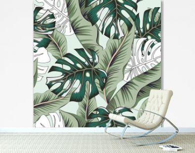 Tropical green banana, monstera palm leaves background. Vector seamless pattern. Graphic illustration. Exotic jungle plants. Summer beach floral design. Paradise nature